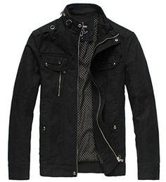 Wantdo Mens Cotton Stand Collar Lightweight Front Zip coat