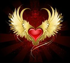 Red heart with golden wings. Bright red heart of an angel with golden wings shining in the dark radiant red background decorated with a pattern stock illustration Heart With Wings, Love Heart, Cross Paintings, Easy Paintings, Golden Wings, Embroidery Hearts, Heart Wallpaper, 5d Diamond Painting, Drawing Skills