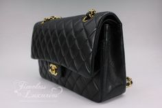 18f8af40a4af Timeless Luxuries - CHANEL Black Lambskin Classic Double Flap Bag Gold Hw