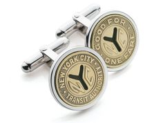 Large Y-tokens from the century in silver-plate mounts or sterling silver make an unusual and good-looking pair of cufflinks. Packaged in an attractive gift box featuring a NYC subway map. Perfect for Father's Day. Nyc Subway Map, New York Subway, Engraved Gifts, Corporate Gifts, Silver Plate, Cufflinks, Just For You, Sterling Silver, Jewelry
