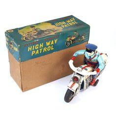 1950s Masudaya Motorcycle Police Highway Patrol Tin Toy Vintage Madein JAPAN 557…