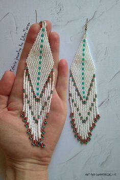 Beaded earrings seed bead earrings white earrings long