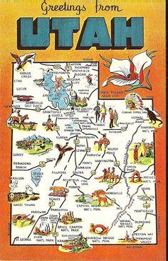 Vintage State Map Postcard - Utah. $2.00, via Etsy.