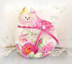 Cat Pillow Doll Cloth Doll 7 inch Cat Pink Green by CharlotteStyle