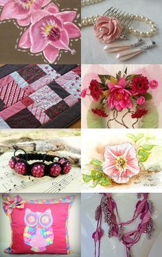 Don't Forget Pink in Green Month by Linda Miller on Etsy--Pinned with TreasuryPin.com #gifts #handmade #treasury #shopsmallbiz #sales #love #uniquegifts #jewelry #bracelets #shamballa #shambhala #discoball #pink #fuschia