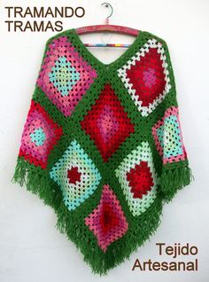 simple way to make a granny poncho in size and colors you love!