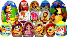 21 Surprise eggs, Маша и Медведь Kinder Surprise Mickey Mouse Disney Pix...