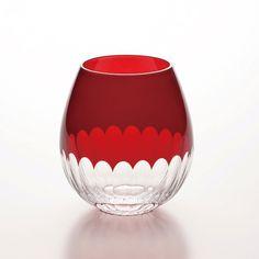 Hirota glass Edo Kiriko Kamaboko red