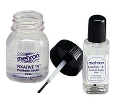 "Mehron Fixative ""A"" is a clear liquid plastic medium used to seal or provide a protective sealing barrier over prosthetic materials and hand applied makeup designs.  It is ideal to use over SFX creations made from modeling waxes and putties to protect them, and provide a contact surface for makeup finishing products.  Fixative ""A"" dries to a hard clear finish and can be used to seal water-based paint makeup designs, making them waterproof with the appearance of a tattooed like result."