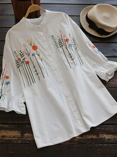 CN Blouses & Shirts White / One Size Floral Embroidery Stripe Women Blouses Blusas e camisas da CN White / One Size Floral Embroidery Stripe Women Blusas Hand Embroidery Videos, Embroidery On Clothes, Shirt Embroidery, Embroidered Clothes, Hand Embroidery Designs, Embroidered Blouse, Floral Embroidery, Kurta Designs, Blouse Designs