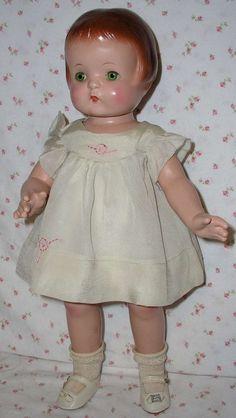 """1930s Effanbee 19"""" PATSY ANN Doll -- All Original w/ Tagged NRA Silk Dress"""