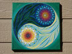Yin Yang punto Mandala pintura 10 x 10 pulgadas en la lona
