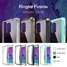 100% Original Ringke Fusion Case For Galaxy Note 4 Crystal Clear Back Drop Resistance Phone Bags Cases for Samsung Galaxy Note 4