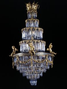Baccarat A Rare Crystal and Gilt-Bronze Waterfall Chandelier  French, Circa 1900.
