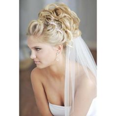 curly updos bridal hairstyles with veil classywed found on Polyvore