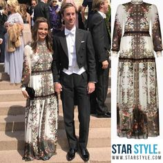 Pippa Middleton Matthews wore an Erdem dress to a wedding in Stockholm #pippamiddleton  Shopping info at www.starstyle.com