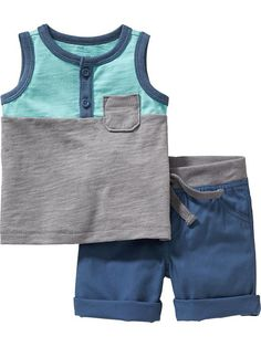 Henley Tank & Shorts Sets for Baby Baby Boy Dress, Cute Baby Boy Outfits, Little Boy Outfits, Little Boy Fashion, Baby Boy Fashion, Cute Baby Clothes, Toddler Outfits, Kids Outfits, Kids Fashion