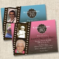 A Life in Film Milestone Birthday or Anniversary by TintsAndPrints, $16.00