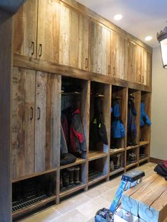 Reclaimed timber cupboards - boot room in ski chalet Chalet Design, Chalet Style, Lodge Style, Chalet Interior, Interior Design Living Room, Ski Chalet Decor, Lodge Decor, Mountain Decor, My New Room
