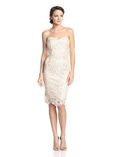 www.myhabit.com  This strapless lace dress has a sweetheart neckline, invisible zipper closure back and full lining