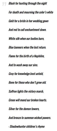 Shadowhunter Children's Rhyme