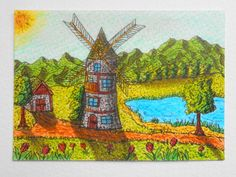 Art print of a windmill inspirational by ExiArtsEcoCrafts on Etsy