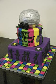 BC4066 - disco birthday cake by www.fortheloveofcake.ca, via Flickr