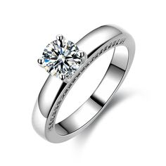 0.8ct Cubic Zirconia Round Cut Women's Engagement Ring 925 Sterling Silver Platinum Plated