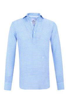 """Sky blue gingham """"Hamptons"""" half placket shirt w/ logo embroidered in bright white. 100% linen"""