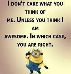 Jeg er ligeglad hvad du tænker om mig. Med mindre du synes jer fantastisk. I det tilfælde har du ret