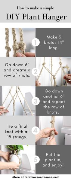 Macrame plant hanger diy 29 macrame diy plant hanger tutorials hanging pots savvy ways about things can teach us Macrame Plant Hanger Tutorial, Diy Macrame Plant Hanger, Diy Macrame Wall Hanging, Macrame Tutorial, Macreme Plant Hanger, Bracelet Tutorial, Crochet Plant Hanger, Rope Plant Hanger, Macrame Mirror