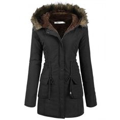 Women's Casual Hooded Warm Winter Drawstring Waist Coat Fleece Lined Parka