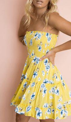 Yellow Floral Smocked Bandeau Mini Dress – Gabi Swimwear