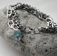 Seaglass Sterling Silver Heavy Triple Chain Bracelet  by SToNZ, $285.00