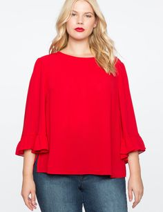 View our Relaxed Flare Sleeve Top and shop our selection of plus size designer women's Tops, plus size clothing and fashionable accessories. Curvy Outfits, Plus Size Outfits, Plus Size Tops, Plus Size Women, Outfits Mujer, Big Girl Fashion, Red Blouses, Knee Length Dresses, Fashion 2018