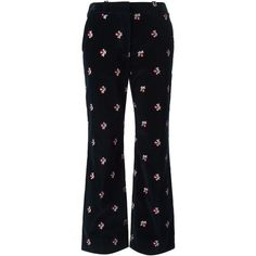 Maison Margiela floral embroidered trousers ($1,130) ❤ liked on Polyvore featuring pants, blue, black trousers, flare pants, black pants, blue pants and maison margiela