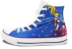 Blue Converse Womens Shoes Hand Painted Sailor Moon High Top Can Custom Converse Shoes, Blue Converse, Custom Shoes, Painted Converse, Make Your Own Converse, Hand Painted Shoes, Shoe Art, Dream Shoes, Skate Shoes