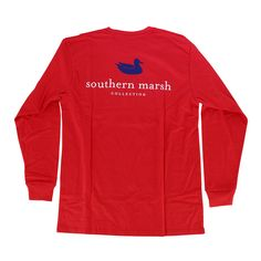 Southern Marsh Long Sleeve Authentic Collegiate Tee Red/White ($40) ❤ liked on Polyvore featuring tops, t-shirts, red long sleeve tee, white long sleeve t shirt, long sleeve t shirt, longsleeve tee and collegiate t shirts
