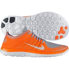 Nike Mens Free 4.0 Flyknit Running Shoes Orange 631053 008