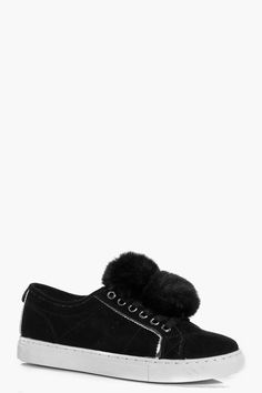 Pin for Later: Your 5-Year-Old Self Would Have Really Loved This Sneaker Trend  Boohoo Kara Pom Pom Trim Lace Up Trainer ($30)