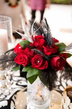 Red roses and Black Feathers Wedding Centerpiece