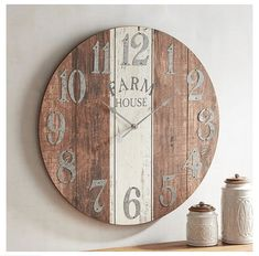 Charming vintage farmhouse wall decor ideas for a rustic country home to add some rustic flair to your blank walls. Antique Wall Clocks, Rustic Wall Clocks, Farmhouse Wall Clocks, Wooden Clock, Country Farmhouse Decor, Farmhouse Kitchen Decor, Farmhouse Style, French Farmhouse, Vintage Farmhouse
