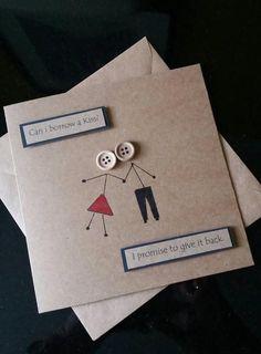 Anniversary card - love- birthday card- romance - girlfriend-boyfriend- husband - wife- stickman - kisses,An Birthday Cards For Boyfriend, Love Birthday Cards, Diy Birthday, Girlfriend Birthday, Husband Birthday, Birthday Presents, Birthday Quotes, Creative Gifts For Boyfriend, Presents For Boyfriend