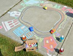 101 Genius Sidewalk Chalk Ideas To Crush Summertime Boredom Seriously Fun Sidewalk Chalk Art for Kids to PLAY In – Playing Cars in a Giant Sidewalk Chalk Town – at B-Inspired Mama Chalk Art Christmas, Chalk Art Quotes, Art Tumblr, Art Disney, Sidewalk Chalk Art, Chalk It Up, Chalk Drawings, Art Drawings, Summer Activities