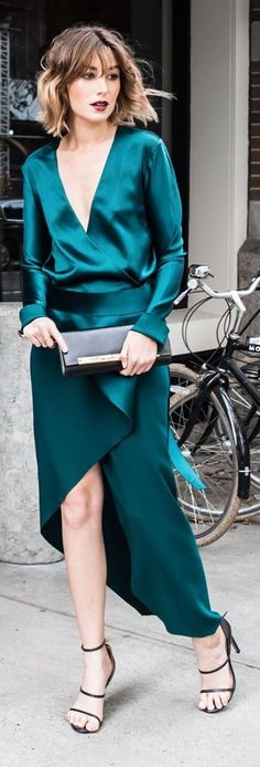 The Chronicles Of Her Teal Satin Cocktail Dress Fall Inspo                                                                             Source