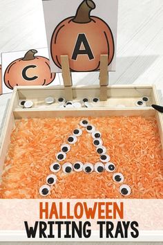Halloween Writing Trays for Preschoolers This fine motor activity let's kids practice forming letters while keeping their interest with sensory materials. Great for early literacy and preschool fun! Preschool Writing, Fall Preschool, Kindergarten Literacy, Preschool Learning, Early Literacy, Preschool Halloween Activities, Seasons Kindergarten, Alphabet Activities, Sensory Activities