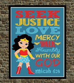 Super Hero Wall Art  Christian Print Wonder Woman by PixiePaperSTL