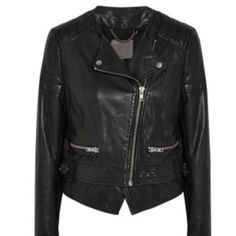 Muubaa Surko Leather Jacket 100% Leather (lamb).Quilted shoulders & upper sleeves, zipped cuffs & pockets, buckle waist tabs, detachable waist panel, fully lined.  Size: US 2, UK 6 Muubaa Jackets & Coats