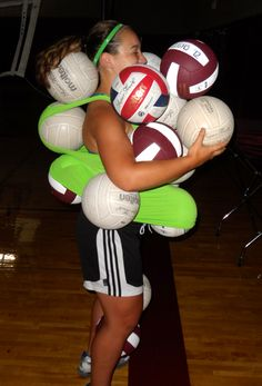 Holding 17 full size volleyballs is actually really hard!:) Volleyball players would know
