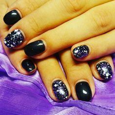 #shellac_nails #mettalic_black#purple_snow